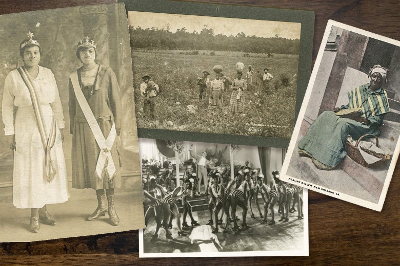 A photo collage of Black women engaged in various activities—including standing for portraits and working in a field.