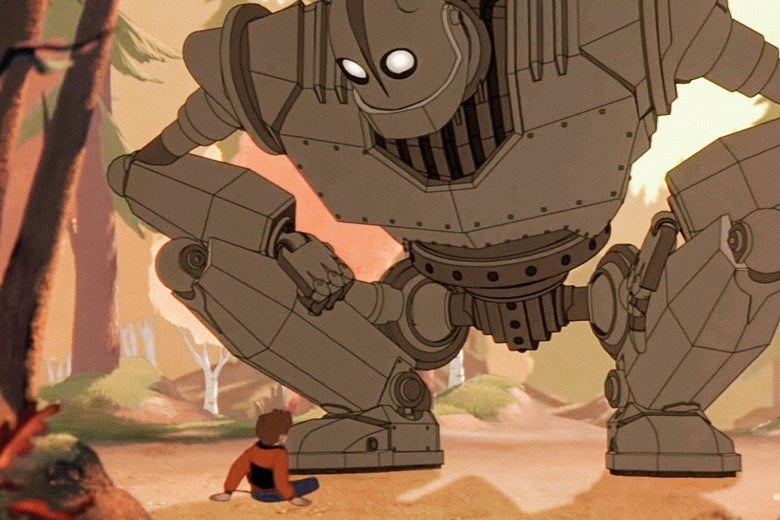 A giant cartoon robot looking down at a boy in The Iron Giant
