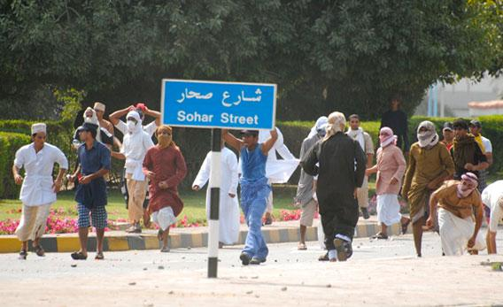 Young protesters rioted in Sohar on Feb. 27.
