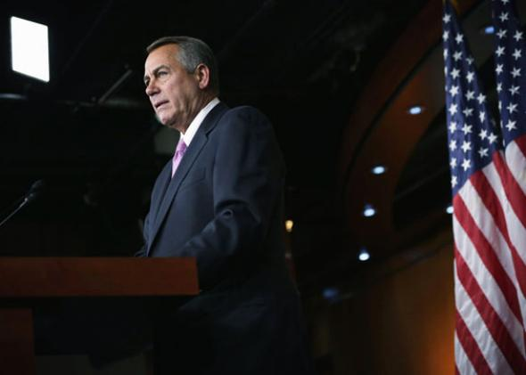 Speaker of the House Rep. John Boehner (R-OH) speaks during his weekly news conference February 6, 2014 on Capitol Hill in Washington, DC.