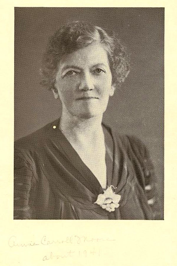 Photograph of Anne Carroll Moore.