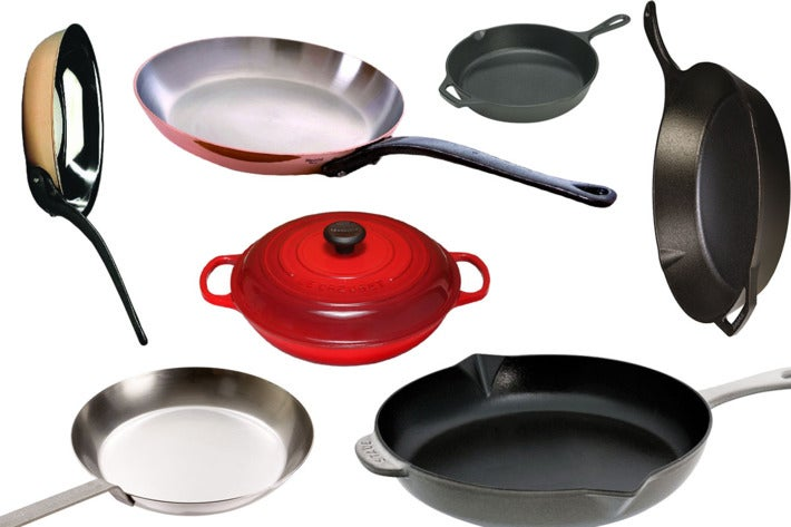 Collage of various skillets.