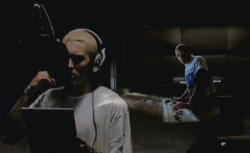 "Eminem and Dr. Dre in the video for ""Cleanin' Out My Closet"""