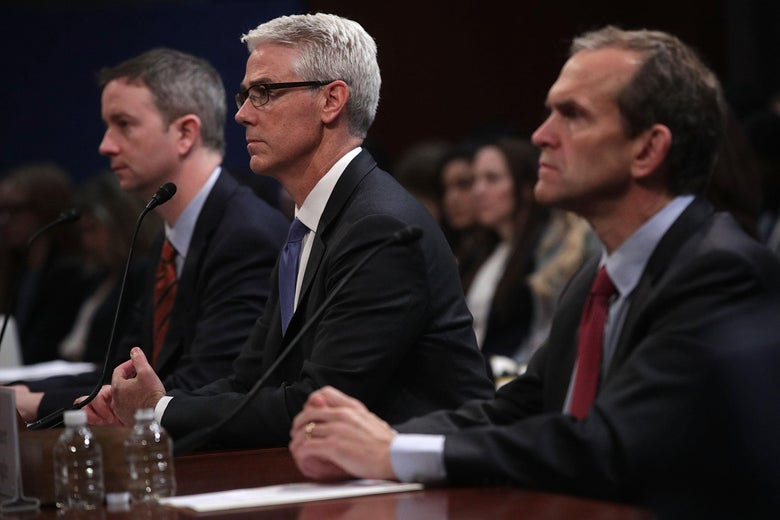 General counsel for Twitter Sean Edgett, Vice President and general counsel for Facebook Colin Stretch, and Senior Vice President and general counsel for Google Kent Walker testify during a hearing before the House (Select) Intelligence Committee.