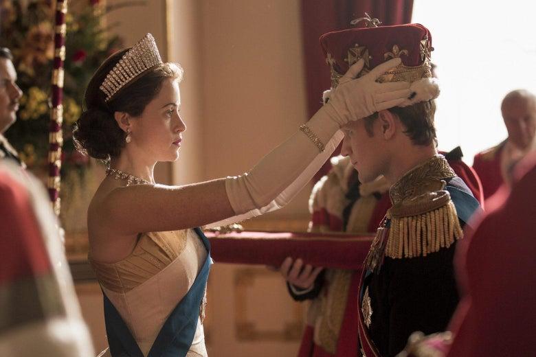 Queen Elizabeth II (Claire Foy) and Prince Philip (Matt Smith) in Season 2 of Netflix's The Crown.