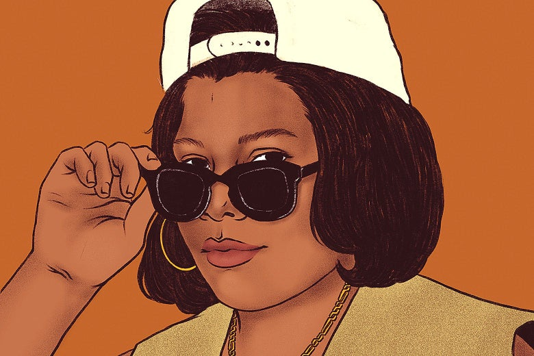 An illustration of Queen Latifah circa 1990s with a backwards cap and sunglasses.