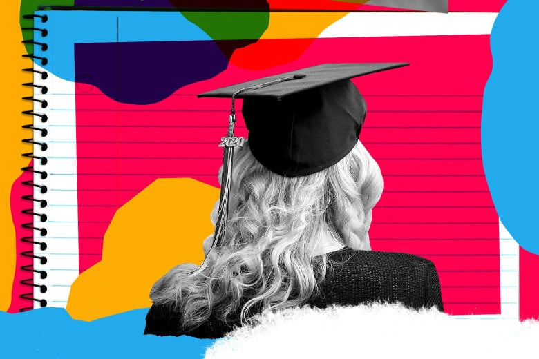 The back of the head of a girl wearing a grad cap is seen in front of a notebook and various shapes of various colors.