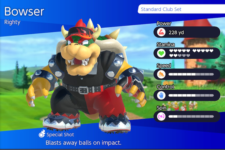Bowser character selection screen.