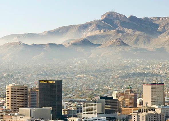 Panoramic view of skyline and downtown El Paso Texas looking toward Juarez, Mexico.