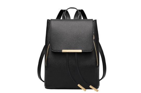 Coofit black leather backpack for women.