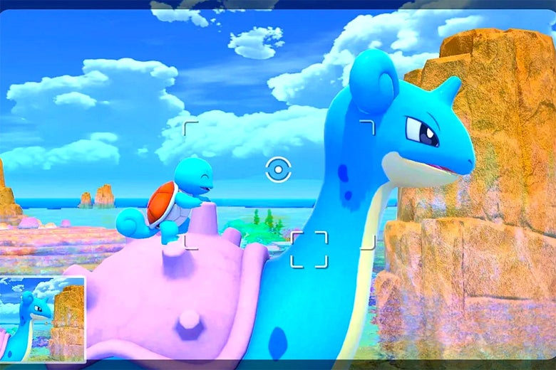 A blue turtle-like monster sits atop a blue monster with a horn and purple shell. There are clouds and a blue sky behind them, as well as a brownish peak.
