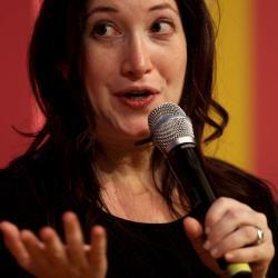 Randi Zuckerberg, former marketing director of Facebook, addresses the audience during a conference in Germany