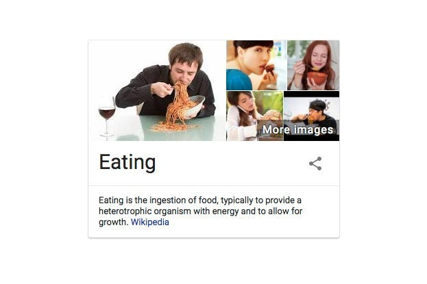 Eating as defined by Google.