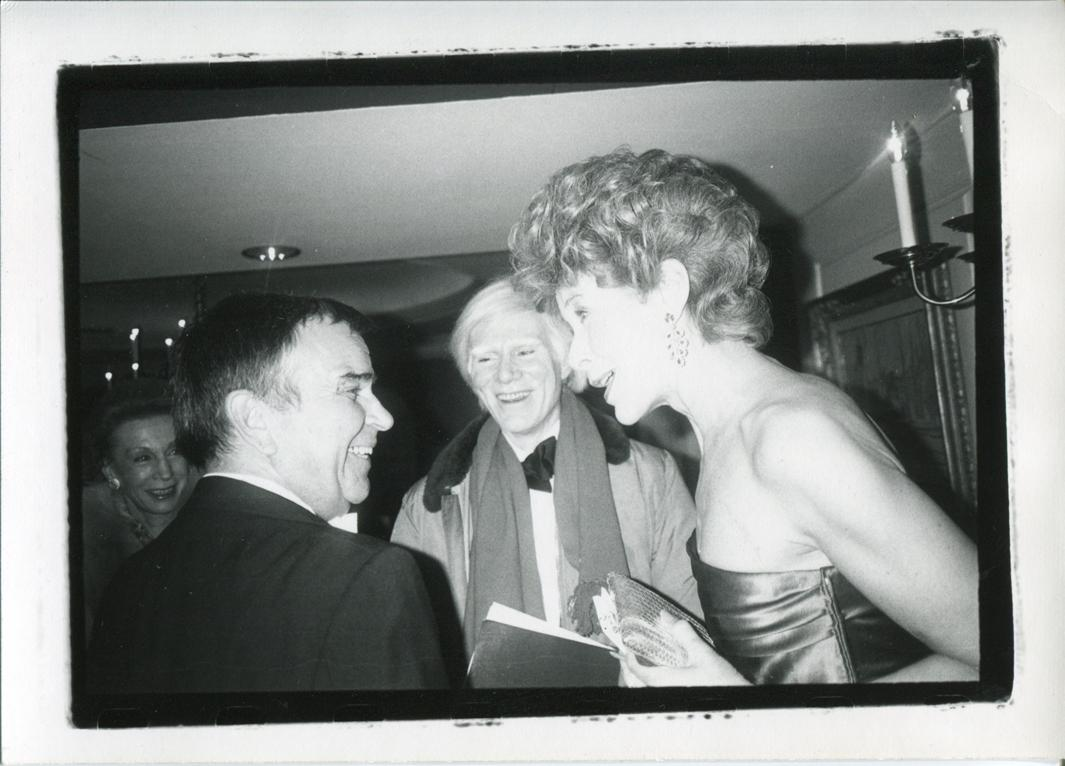 Andy Warhol with Nancy Reagan's Decorator, Ted Garber, and Betsy Bloomingdale at an Inauguration Party, 1981