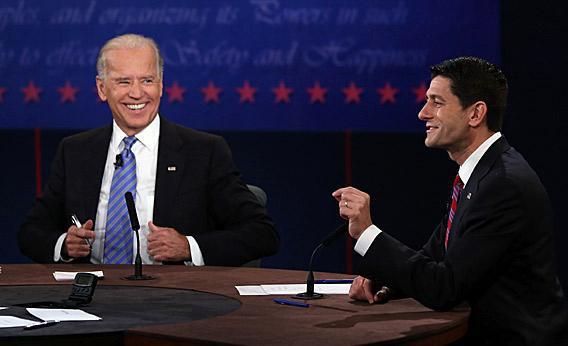 U.S. Vice President Joe Biden (L) and Republican vice presidential candidate U.S. Rep. Paul Ryan (R-WI) (R) participate in the vice presidential debate.