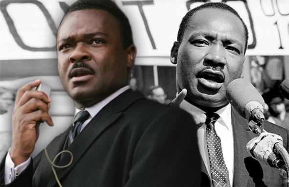David Oyelowo in Selma as Martin Luther King, Jr., left; MLK delivers a speech on October 16, 1965, in New York City, New York, right.
