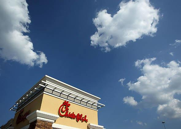 The signs of a Chick-fil-A are seen July 26, 2012 in Springfield, Virginia.