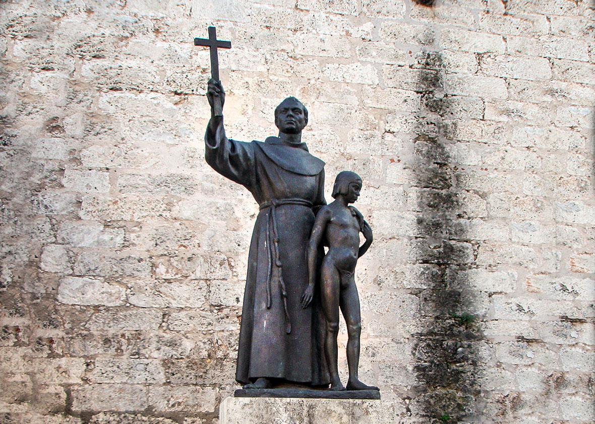 Monument of Junípero Serra (with Juaneño Indian boy) on plaza ,Monument of Junípero Serra (with Juaneño Indian boy) on plaza de San Francisco de Asis in Havana.