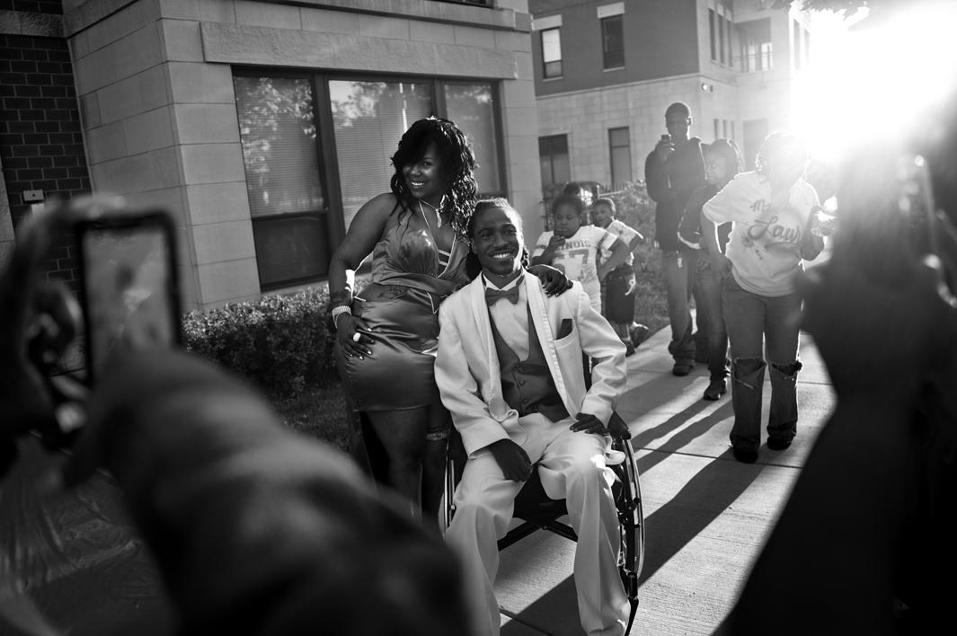 Ondelee Perteet picks up his prom date. After struggling for yea,Ondelee Perteet picks up his prom date. After struggling for years with a spinal cord injury, Ondelee makes it to his high school prom. He graduated two weeks later. Bronzeville, Chicago, 2011