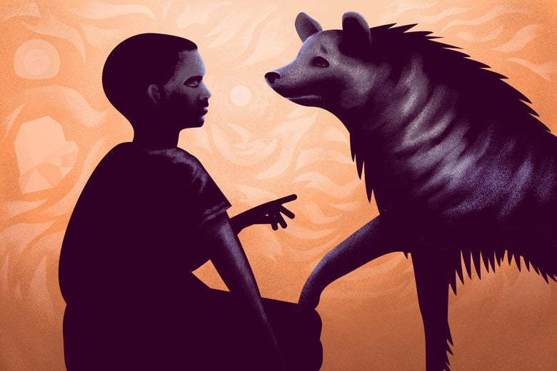 A child and hyena stand beside each other staring into each other's eyes.