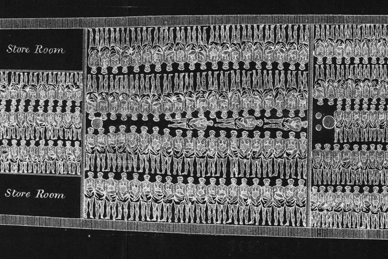 An X-ray-like illustration of humans closely stacked inside the interior of a slave ship.