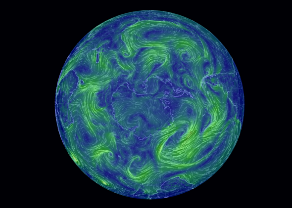 Global Wind Map Cameron Beccario S Visualization Of World Weather