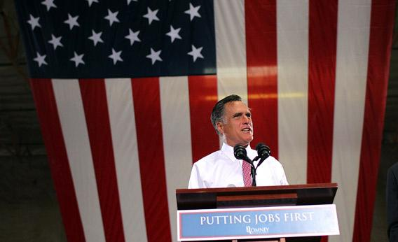 Mitt Romney speaks during a campaign rally.