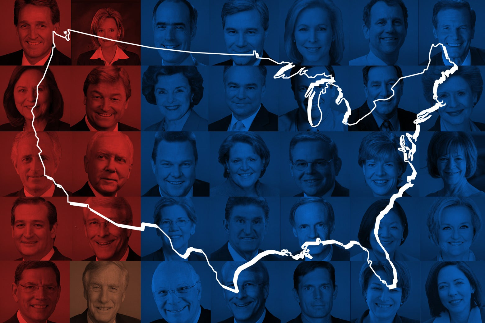 Faces of 2018 midterms winners shaded red or blue according to party affiliation, over a map of the U.S.