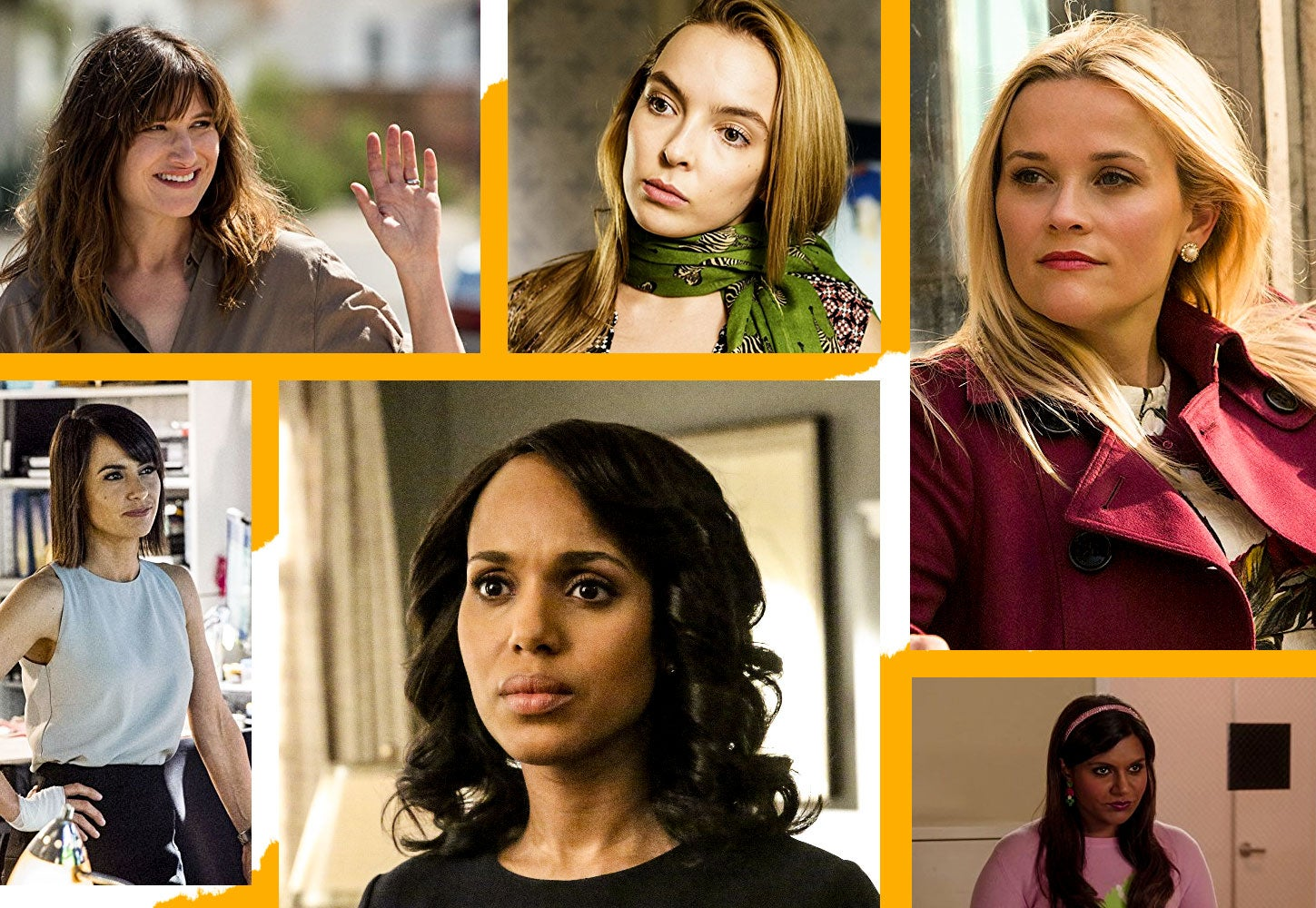 A collage of female characters from I Love Dick, Killing Eve, Big Little Lies, UnREAL, Scandal,  and The Mindy Project.