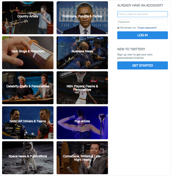 Another view of Twitter's new home page, which hopes to engage logged out visitors who aren't interested in creating their own, personalized feeds.