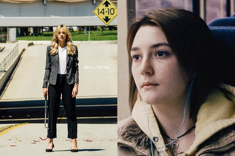Left: Carey Mulligan stands holding a metal stick. Right: a close-up of Sidney Flanigan wearing earbuds on a train or bus.