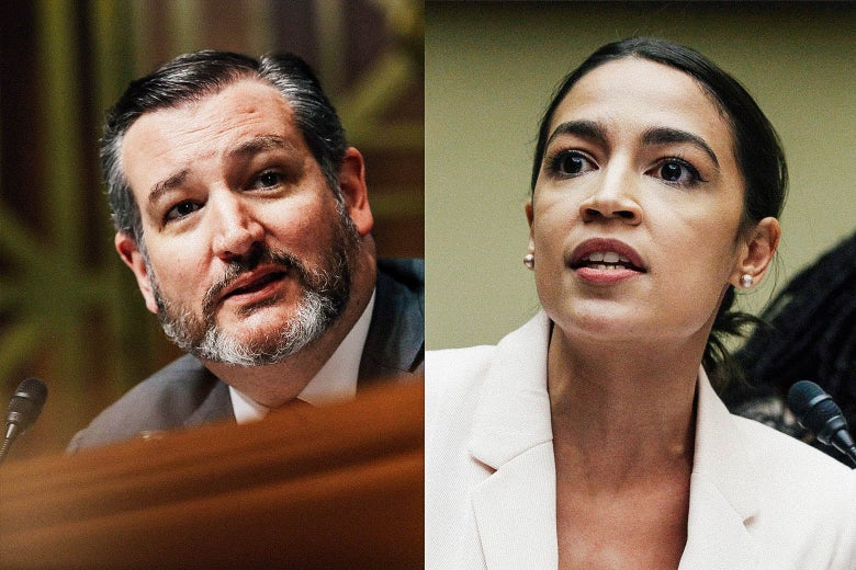 A diptych: On one side, Ted Cruz, with a beard, speaks into a microphone. On the other, Alexandria Ocasio-Cortez speaks into a microphone.