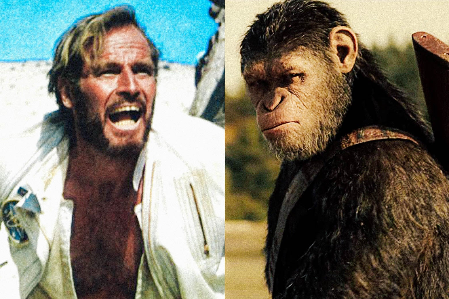 Side by side photos of Charlton Heston in Planet of the Apes and Caesar, the ape, in War for the Planet of the Apes.