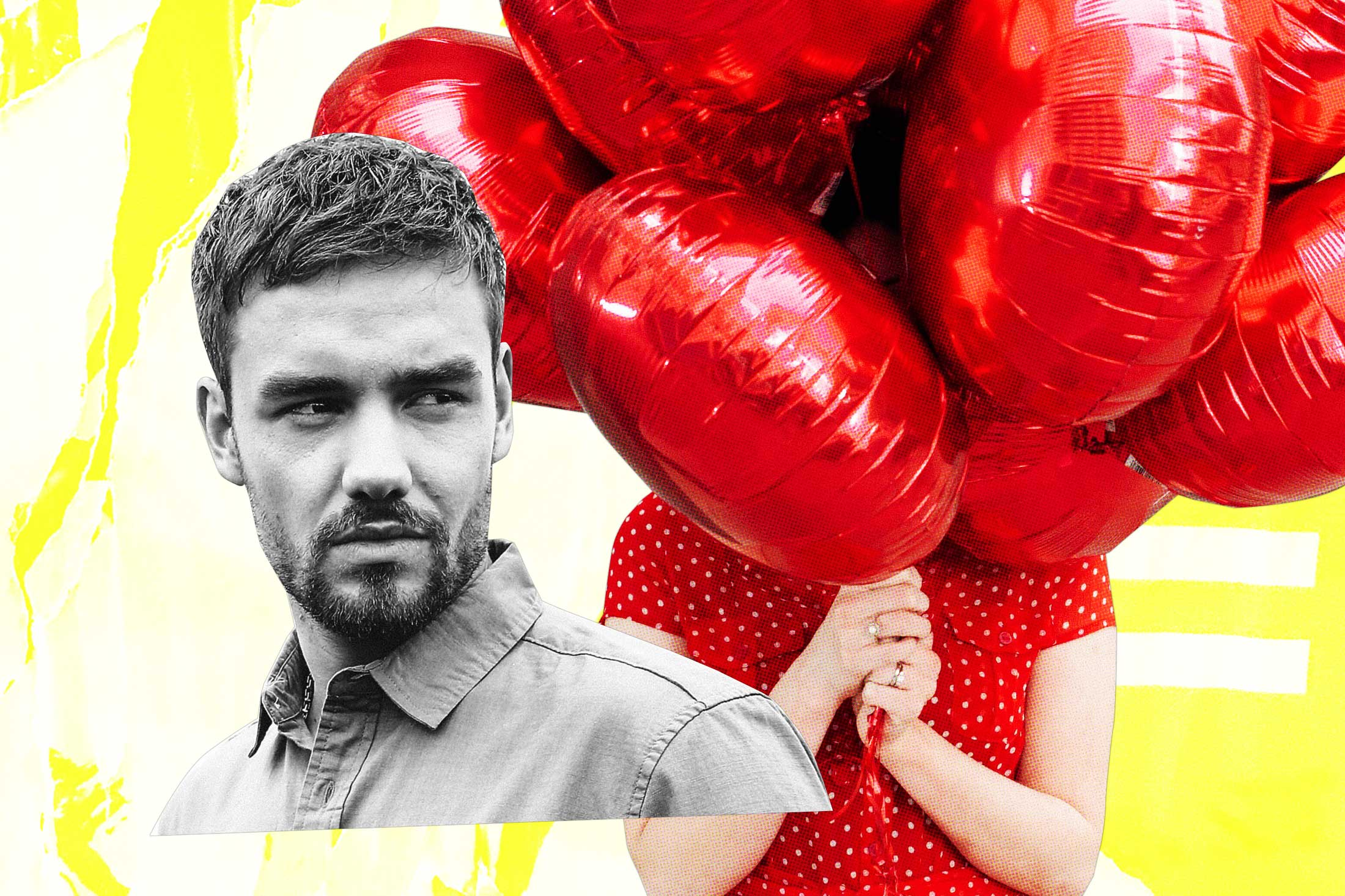 Liam Payne, a mystery woman holding balloons.