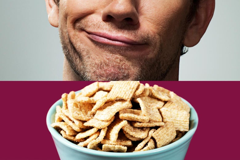 Top: a guy's mouth looking skeptical. Bottom: a bowl of cereal.