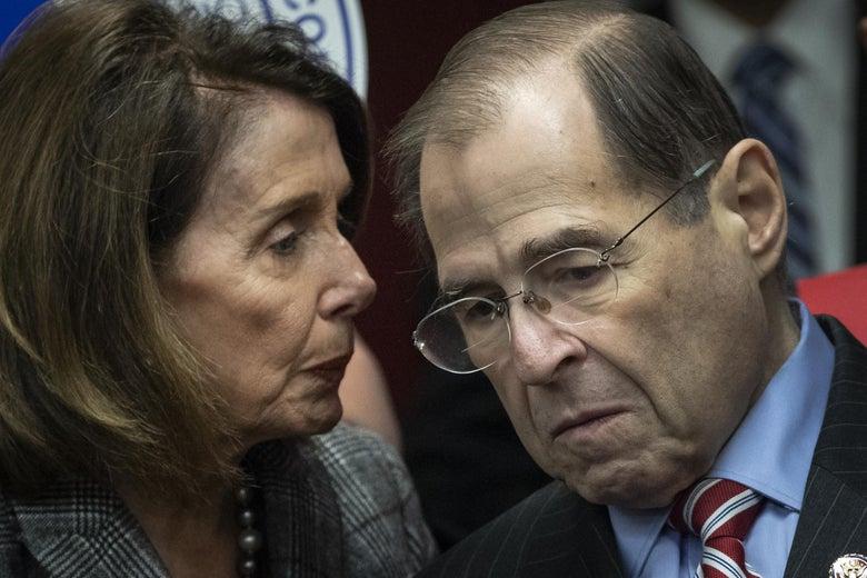 Pelosi and Nadler huddling