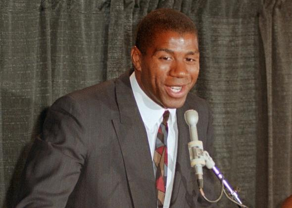 Magic Johnson announces that he is HIV-positive on Nov. 7, 1991.