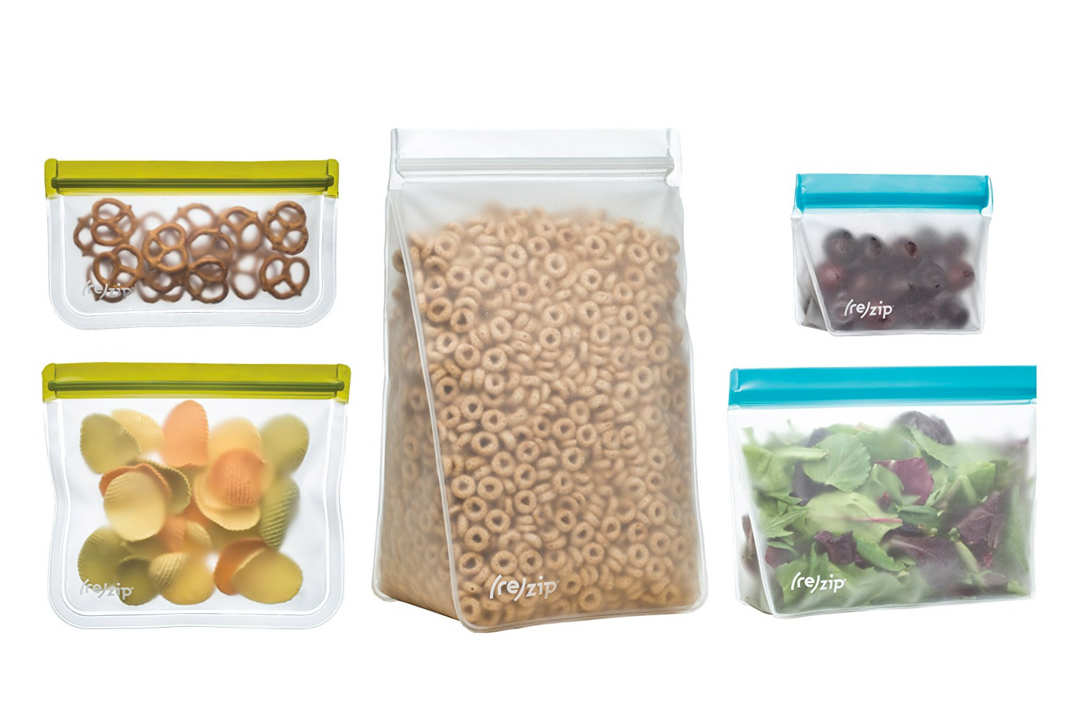 Five variations of Rezip storage bags.