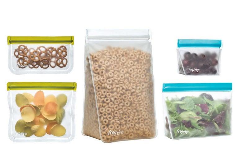 Five variations of Rezip storage bags.