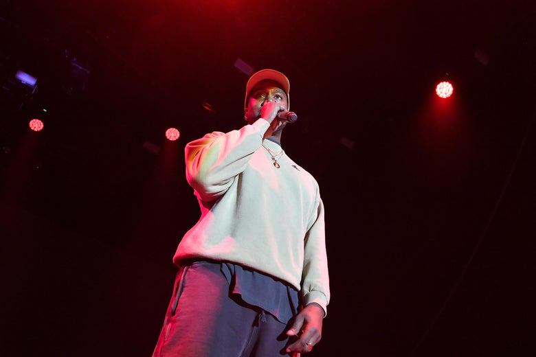 LOS ANGELES, CA - FEBRUARY 17:  Kanye West onstage at adidas Creates 747 Warehouse St. - an event in basketball culture on February 17, 2018 in Los Angeles, California.  (Photo by Neilson Barnard/Getty Images for adidas)