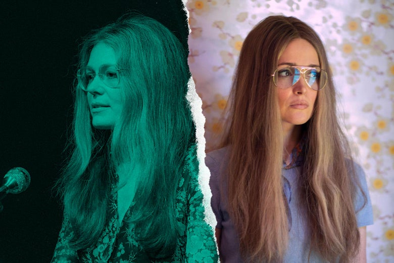 A side-by-side of both women, looking strikingly similar in long hair with their hair parted down the middle