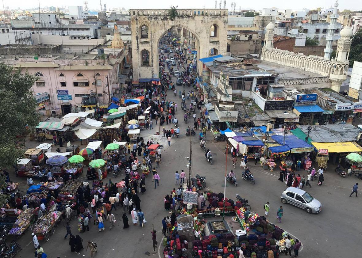 View over the main Pearl Market of Hyderabad, located beside one of the four historic gates leading into the Old City.