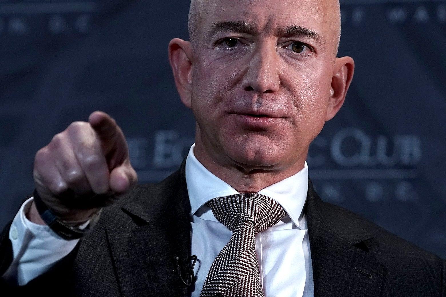 Jeff Bezos points.