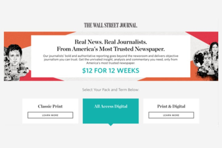 """A WSJ ad that says """"real news. real journalists"""""""