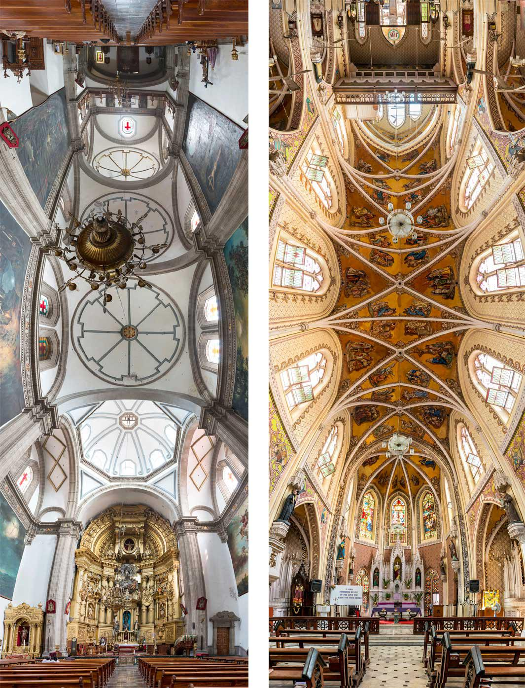 Left: Iglesia de San Francisco, Mexico City. Right: Catherdral of the Holy Name, Mumbai, India.
