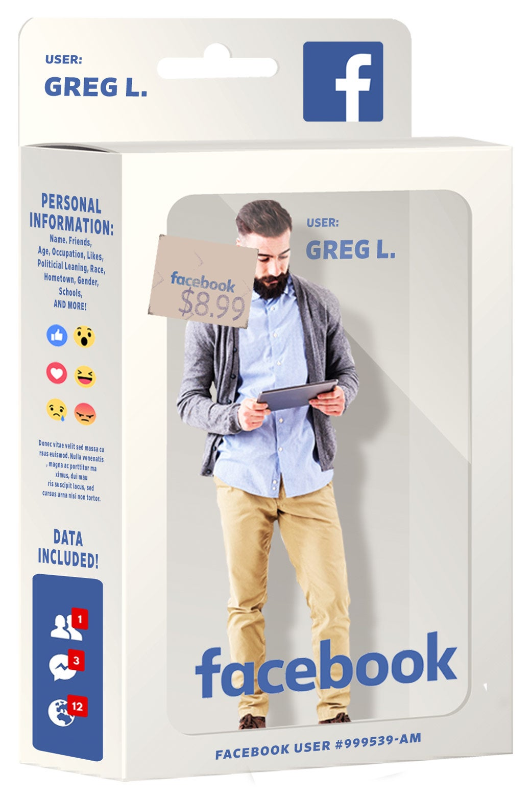 Man in Facebook product box.