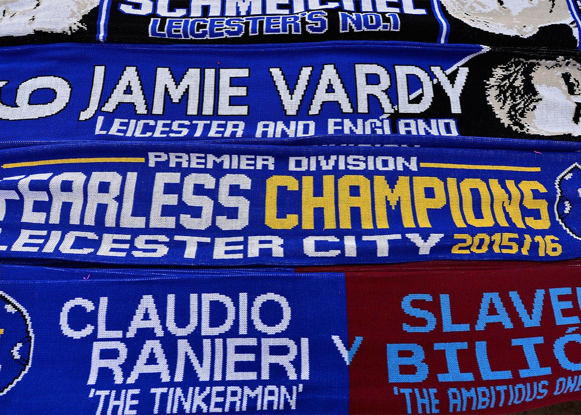 Scarfs on sale ahead of the Barclays Premier League match between Leicester City and West Ham.