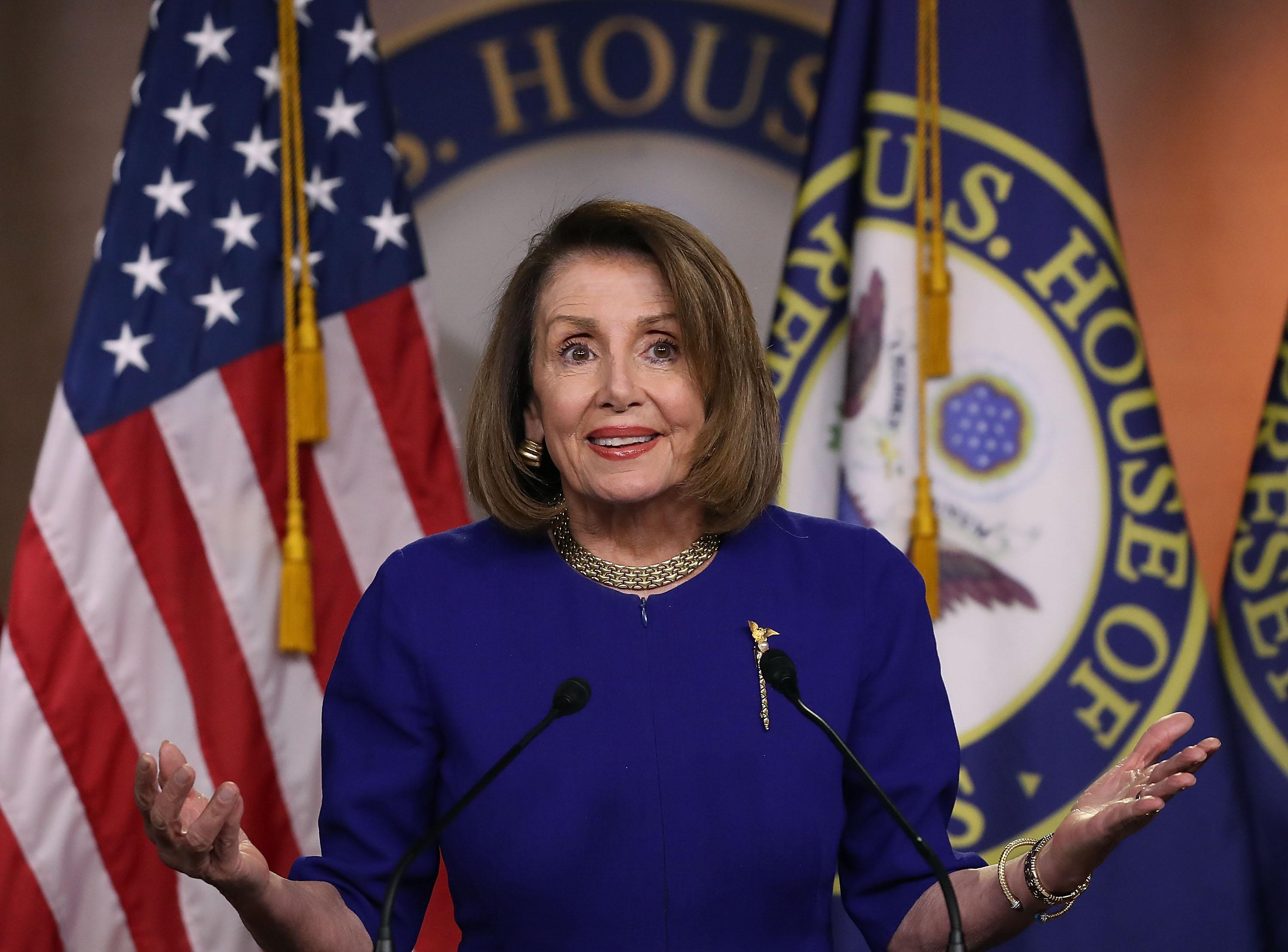 Speaker of the House Nancy Pelosi speaks during her weekly press conference on Feb. 7, 2019 in Washington, DC.
