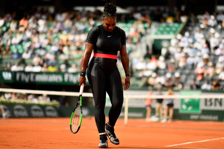 Serena Williams of the US walks on court after a point against Czech Republic's Kristyna Pliskova during their women's singles first round match on day three of The Roland Garros 2018 French Open tennis tournament in Paris on May 29, 2018. (Photo by CHRISTOPHE SIMON / AFP)        (Photo credit should read CHRISTOPHE SIMON/AFP/Getty Images)