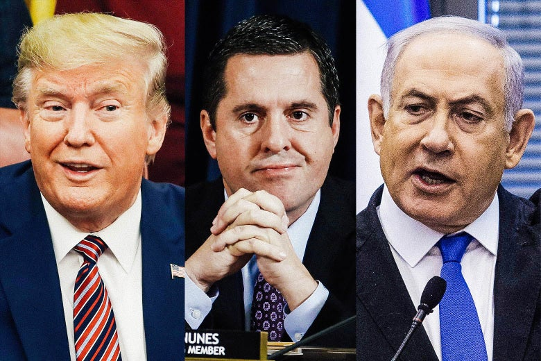Triptych of Donald Trump, Devin Nunes, and Benjamin Netanyahu.